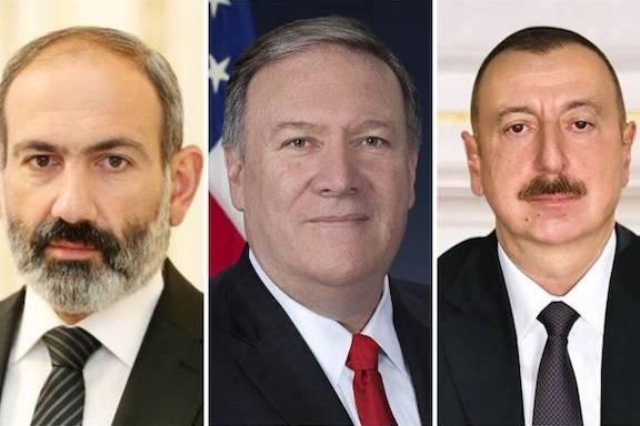 From left: Prime Minister Nikol Pashinyan, Secretary of State Mike Pompeo and Azerbaijani President Ilham Aliyev