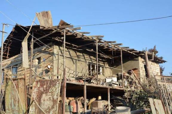 A house in Stepanakert was destroyed by Azeri attacks
