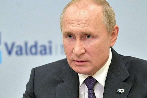 Russian President Vladimir Putin speaking at the Valdai Club on Oct. 22