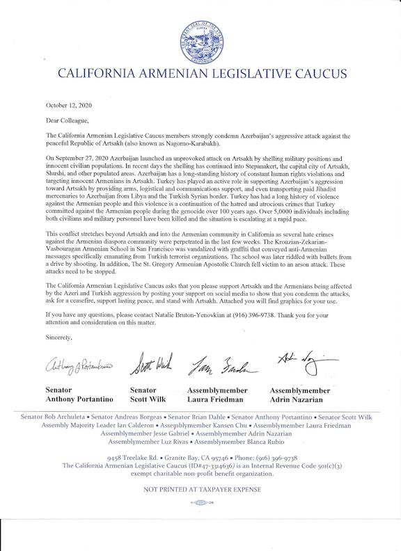 """The """"Dear Colleague"""" letter circulated to the Calif. State Legislature"""