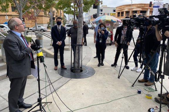Israel's Consul General to L.A. Dr. Hillel Newman addresses a press conference