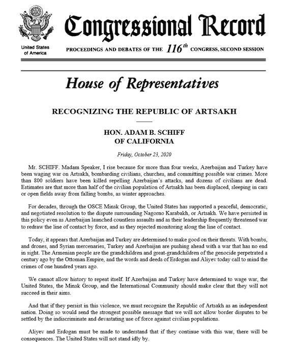 Schiff's statement in the Congressional Record