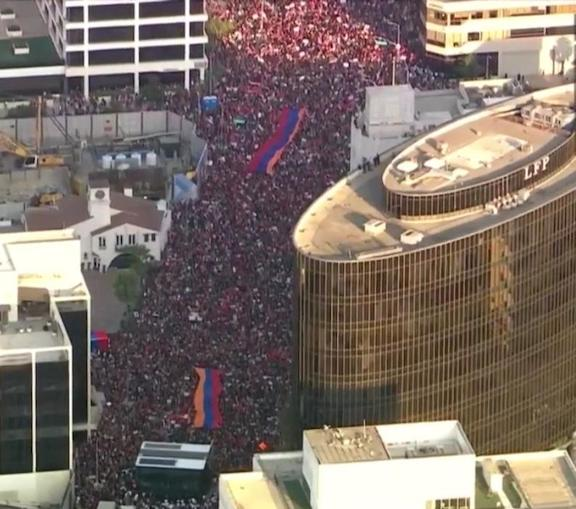 The 150,000-strong crowd marches along Wilshire Boulevard in Beverly Hills