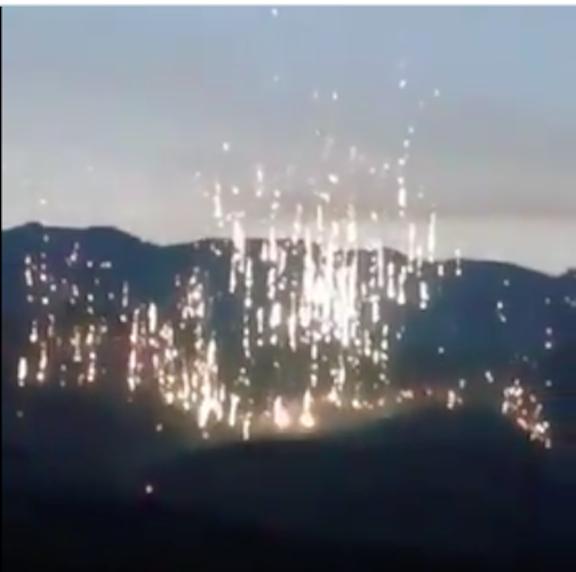 White phosphorous illuminates once fired