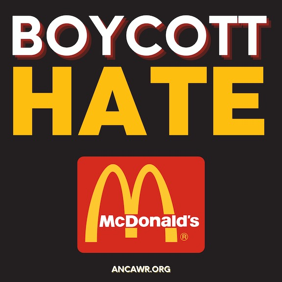 ANCA-WR is urging McDonald's to end its support of Azerbaijani aggression