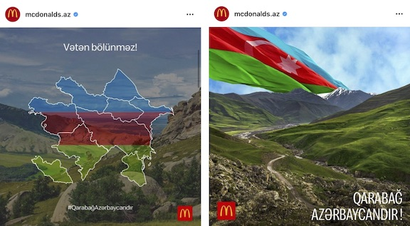 Samples of McDonald's support for Azerbaijani aggression on social media