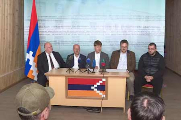 Lawmakers of Germany's Bundestag during a press conference in Stepanakert on Oct. 18