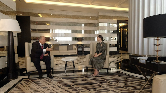 President Armen Sarkissian during an interview with Armenia's Public Television