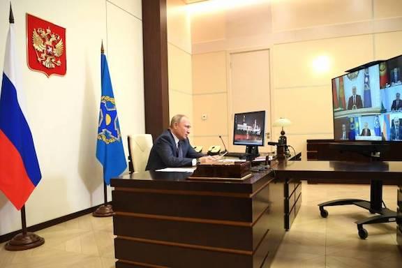 Russian President Vladimir Putin participates in a virtual CSTO Council meeting on Dec. 2