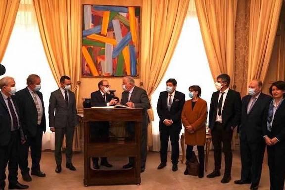 Armenia's Foreign Minister Ara Aivazyan (center left) with the French Senate president Gérard Larcher on Dec. 9 in Paris