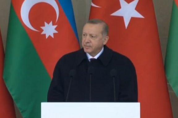 At a military parade in Baku on Thursday, Turkey's President Recep Tayyip Erdogan threatened Iran's territorial integrity