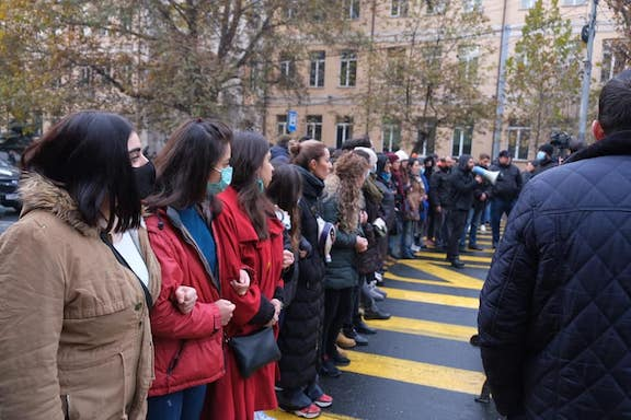 Opposition protesters block streets in Yerevan on Nov. 8