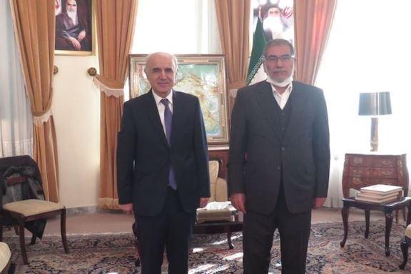 Ali Shamkhani (right), the secretary of Iran's Supreme National Security Council, meets with Armenian Ambassador Artashes Tumanyan, in Tehran on Dec. 27, 2020.