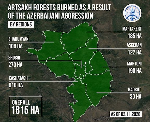 A map pinpointing the forests that were burned in Artsakh by Azerbaijan