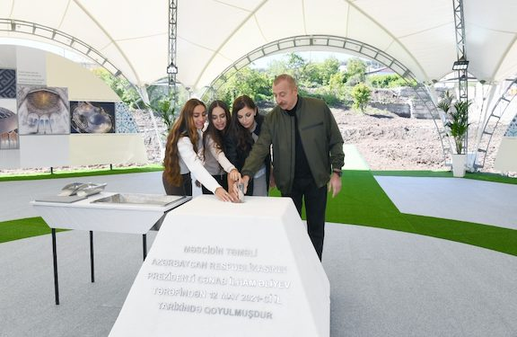 In Shushi, Aliyev Lays Foundation for New Mosque