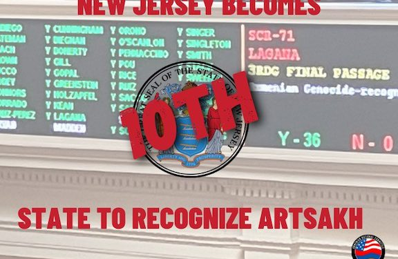 New Jersey Becomes 10th U.S. State to Recognize Artsakh