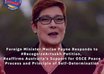 Australia's Foreign Minister Payne Responds to #RecognizeArtsakh Petition